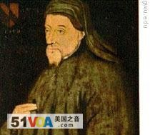A 15th century painting of Geoffrey Chaucer, commonly called the Harvard Chaucer Portrait