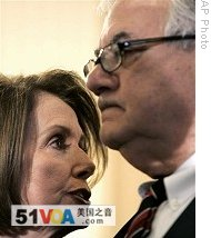 House of Representatives Speaker Nancy Pelosi (l) and House Financial Services Committee Chairman Barney Frank, 09 Dec 2008