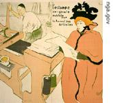 Detail of lithograph print by Henri Toulouse Lautrec