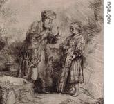 Detail of etching by Rembrandt