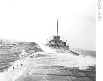 The boat William H. Truesdale in a storm on Lake Erie in the 1930s