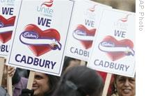 Cadbury workers in London protest the takeover by Kraft