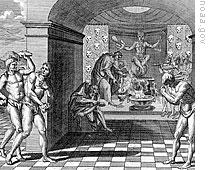 Detail of a picture showing Aztecs making chocolate as part of a religious ceremony
