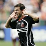 Ben Olsen celebrates his third goal in one game against the New York Red Bull in June of 2007