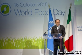 UN Secretary-General Ban Ki-moon delivers his speech at the Expo world's fair of the United Nations Food and Agriculture Organization (FAO) in Rho, near Milan, Italy, Friday, Oct. 16, 2015.