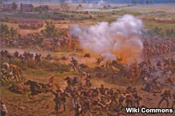 A scene from the 114-meter-wide Gettysburg Cyclorama painting. Pictured is