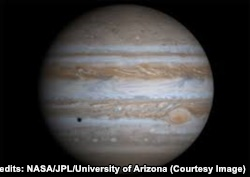 Jupiter, a giant gas planet, is known for its stripes and large red spot. Credits: NASA/JPL/University of Arizona