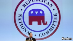 Republican National Committee Chairman Reince Prebus speaks at the committee's Spring meeting, in Hollywood, Florida, April 21, 2016.