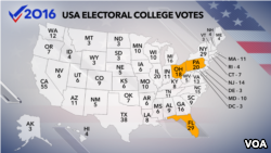 This map shows the number of votes each state has in the Electoral College.