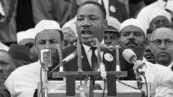 Dr. Martin Luther King, Jr. addresses marchers during his