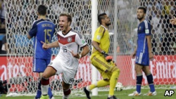 Germany's Mario Goetze celebrates after scoring on Argentina goalkeeper Sergio Romero during the World Cup final soccer match at the Maracana Stadium in Rio de Janeiro, Brazil, July 13, 2014. If Germany wins again in 2026, it will be the best among 48 teams.